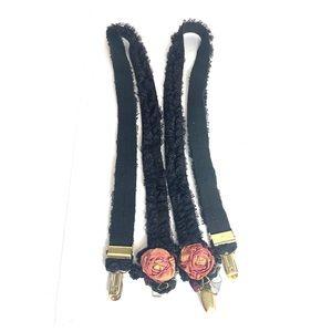 Vintage Black Lace & Rose Suspenders Burlesque